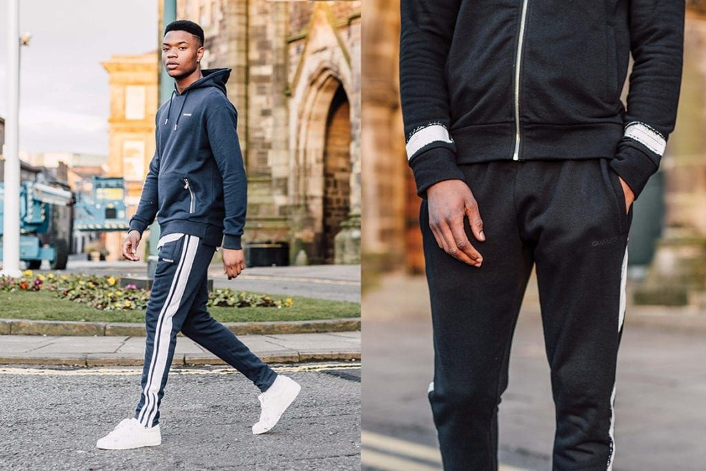 traditional track suits with white sneakers